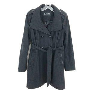 Guess wool blend trench winter coat tie belt